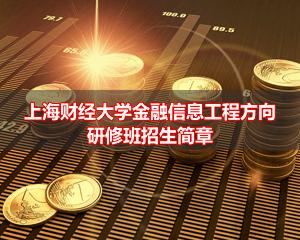 2016年上海财经大学管理科学与工程专业(金融信息工程方向)高级课程研修班招生简章