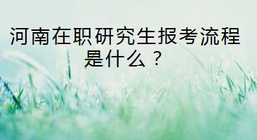 河南在职研究生报考流程是什么?