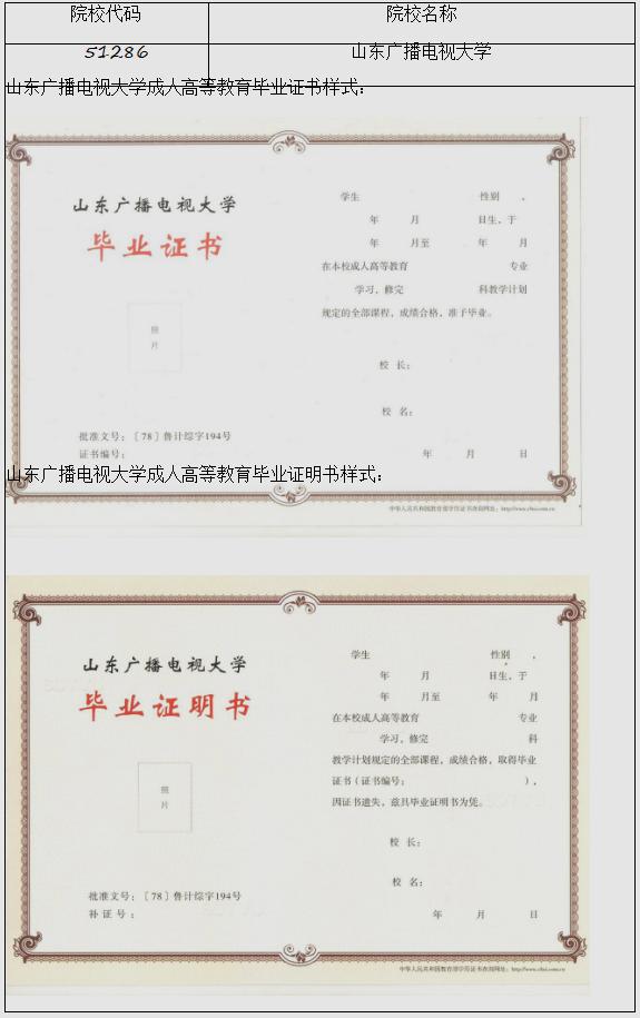 山东省高等教育学历证书样式备案情况公告(1号)