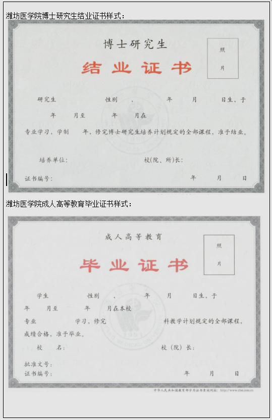 【在职研究生常识】潍坊医学院高等教育学历证书样式都有哪些?