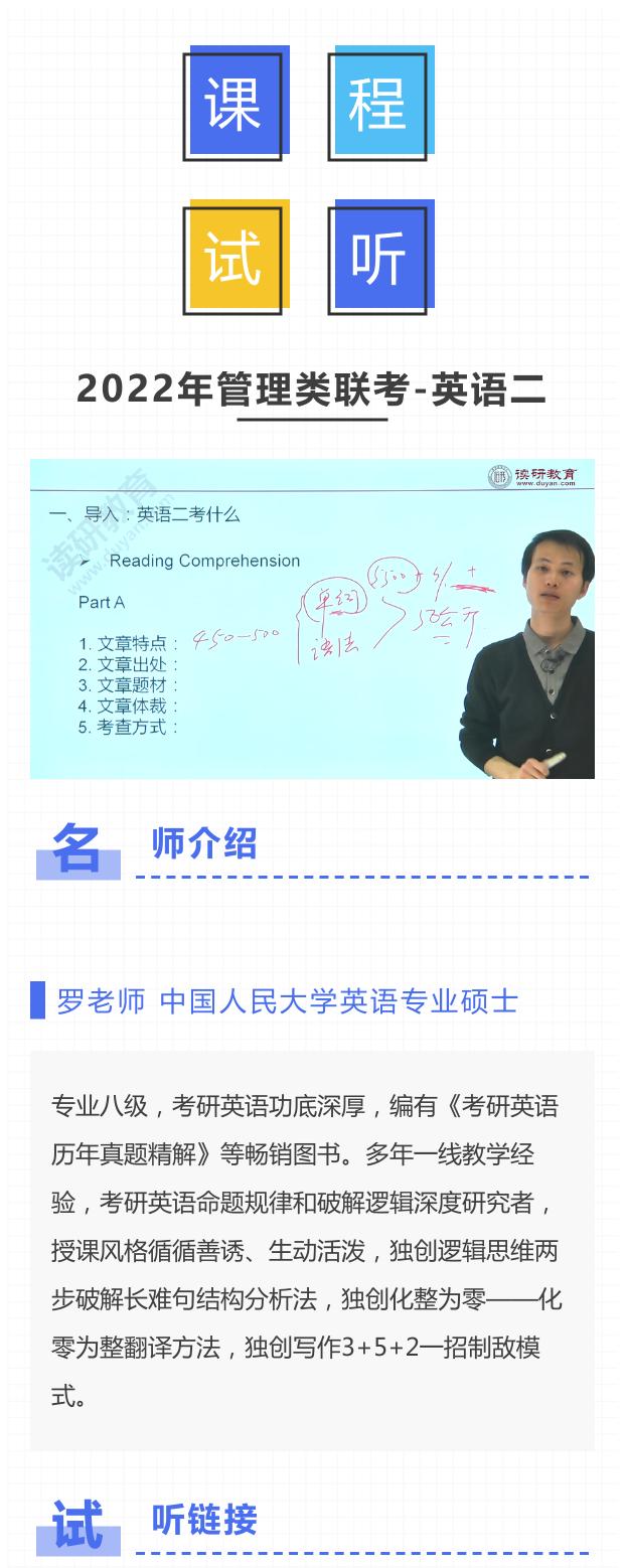 管理类联考英语二考什么(二)试听课【主讲名师:罗老师】